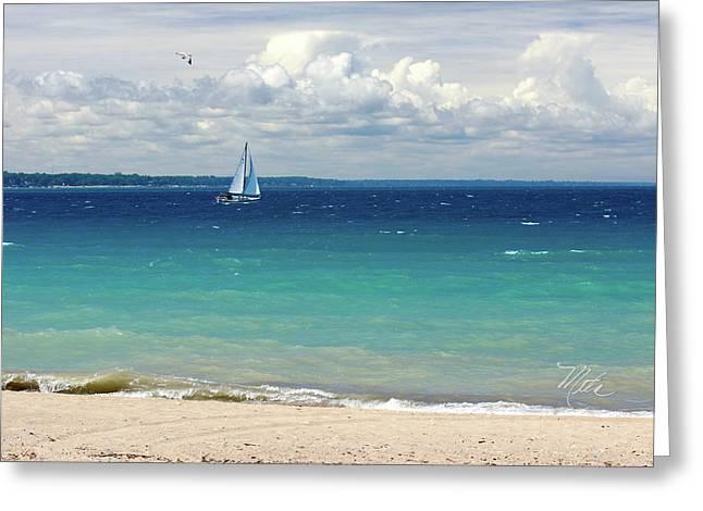 Greeting Card featuring the photograph Lake Huron Sailboat by Meta Gatschenberger