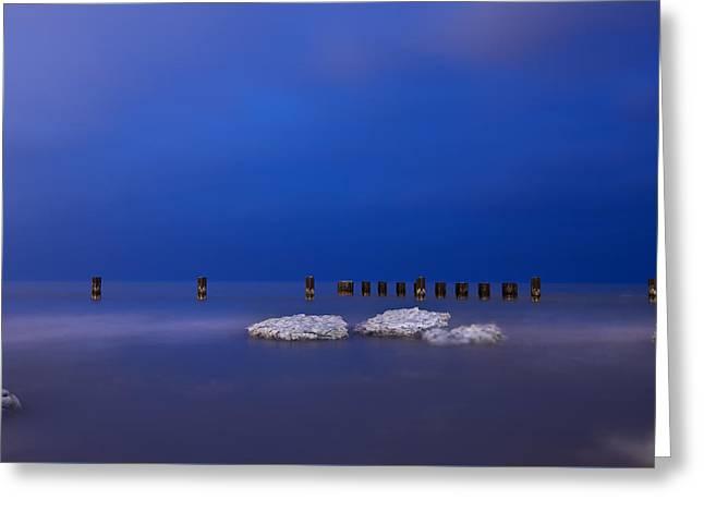 Lake Ice Chicago Greeting Card by Steve Gadomski