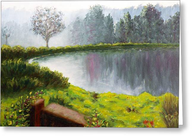 Lake In The Park Greeting Card by Uma Krishnamoorthy