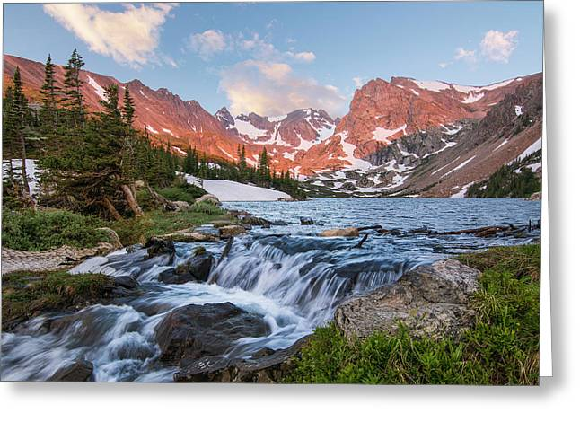 Greeting Card featuring the photograph Lake Isabelle Sunrise by Aaron Spong