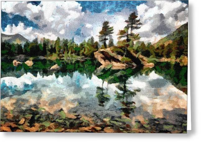 Lake Island View Greeting Card by Mario Carini