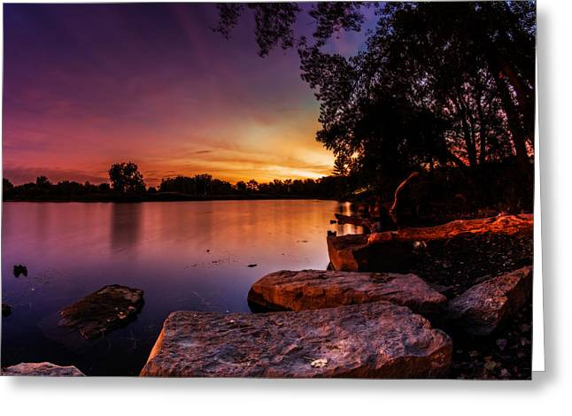 Greeting Card featuring the photograph Lake Kirsty Twilight by Chris Bordeleau