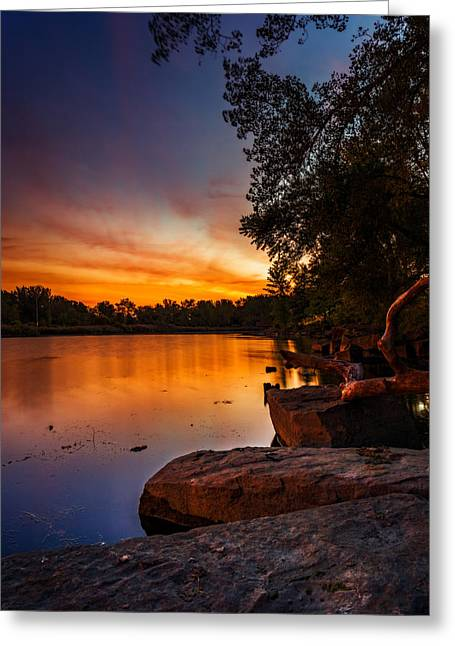 Greeting Card featuring the photograph Lake Kirsty Twilight - Vertical by Chris Bordeleau