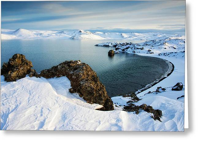 Greeting Card featuring the photograph Lake Kleifarvatn Iceland In Winter by Matthias Hauser