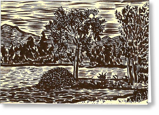 Greeting Card featuring the drawing Lake Leek by Al Goldfarb