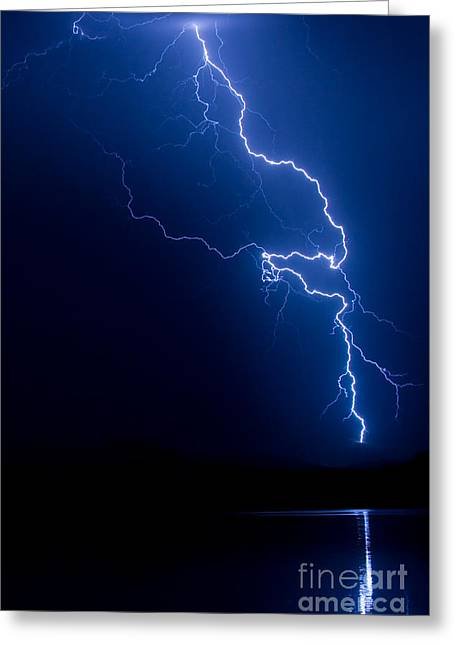 Lake Lightning Strike Greeting Card