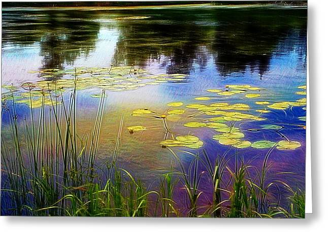 Lake Lilly Monet Style Greeting Card by Louise Lavallee
