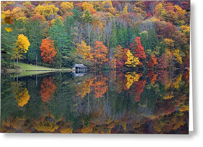 Lake Logan Boathouse In Fall Greeting Card by Mike McGlothlen