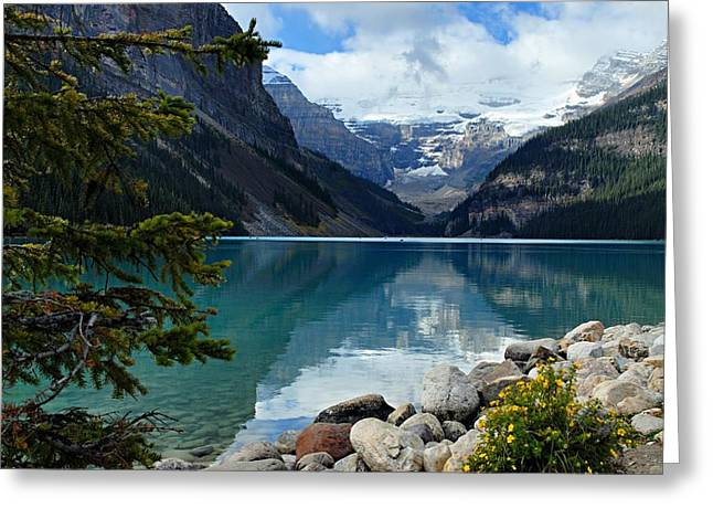 Mountain Reflection Greeting Cards - Lake Louise 2 Greeting Card by Larry Ricker