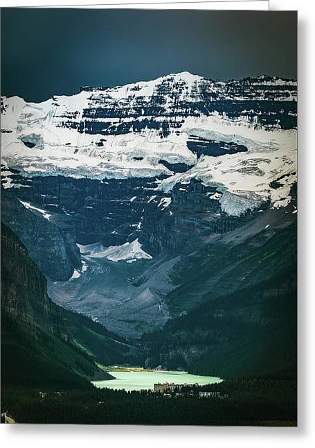Greeting Card featuring the photograph Lake Louise At Distance by William Lee