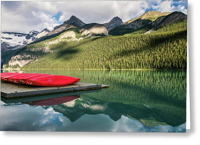 Lake Louise Canoes Greeting Card by Joan Carroll