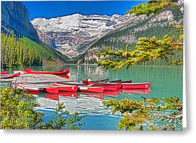 Lake Louise Greeting Card by Dennis Cox WorldViews