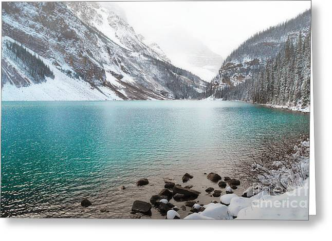 Lake Louise Mountain Snow Forest Landscape Greeting Card by Andrea Hazel Ihlefeld