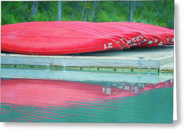 Lake Louise Red Canoes Painterly Greeting Card