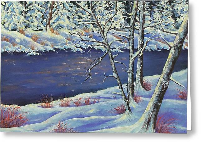 Greeting Card featuring the painting Lake Lucerne Wisconsin by Susan DeLain