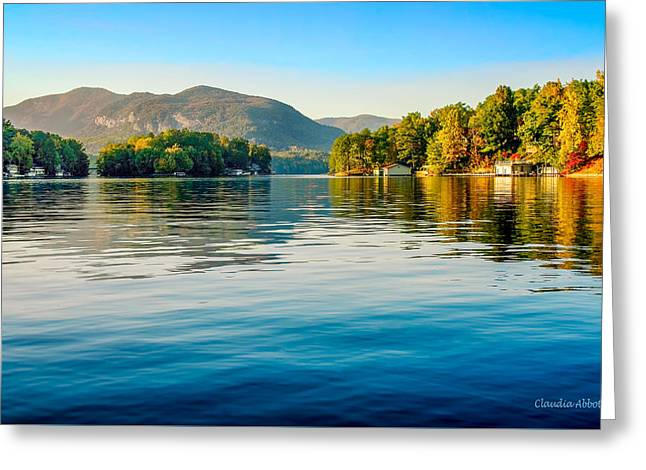 Greeting Card featuring the photograph Lake Lure On A Calm Fall Morning by Claudia Abbott
