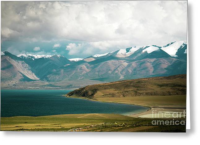 Greeting Card featuring the photograph Lake Manasarovar Kailas Yantra.lv Tibet by Raimond Klavins