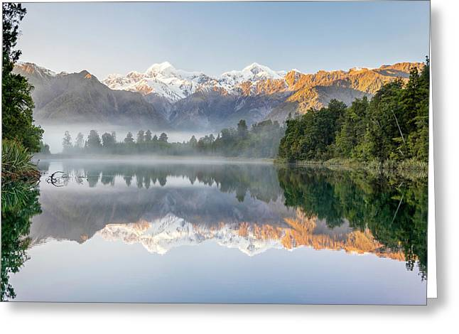 Lake Matheson Reflection Greeting Card by Martin Capek