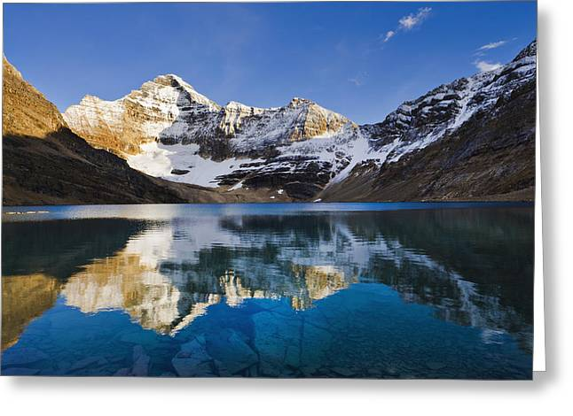 Lake Mcarthur And Mount Biddle Greeting Card by Yves Marcoux