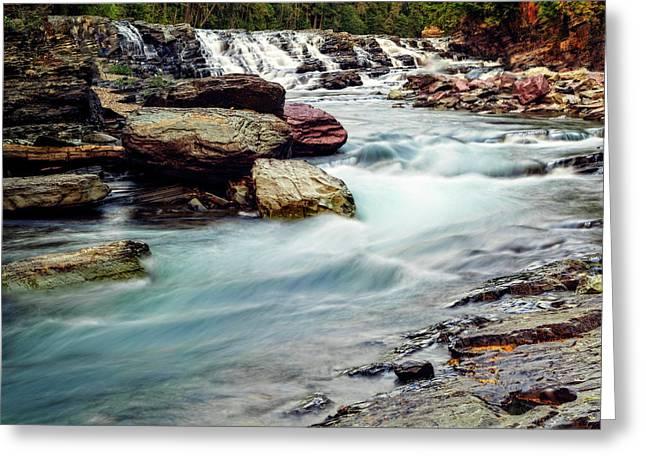 Lake Mcdonald Falls, Glacier National Park, Montana Greeting Card