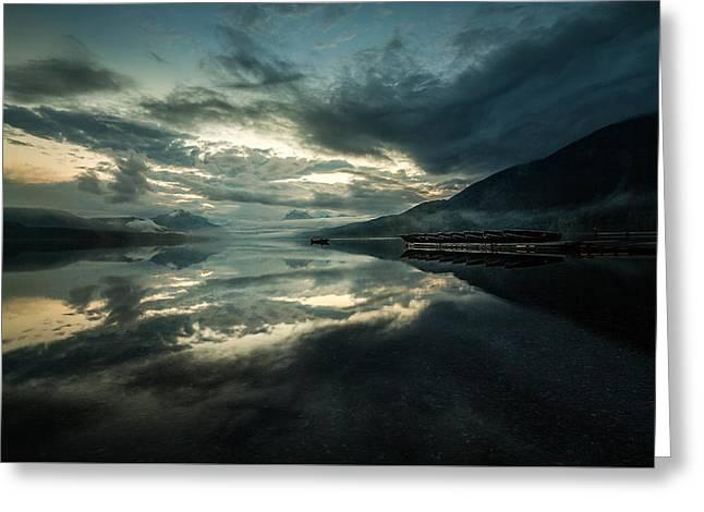 Metallic Sunrise // Lake Mcdonald, Glacier National Park Greeting Card