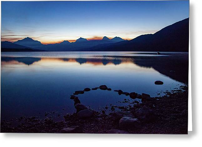 Greeting Card featuring the photograph Lake Mcdonald Sunrise Tranquility by Lon Dittrick