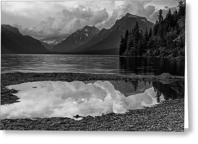 Lake Mcdonald Sunset In Black And White Greeting Card