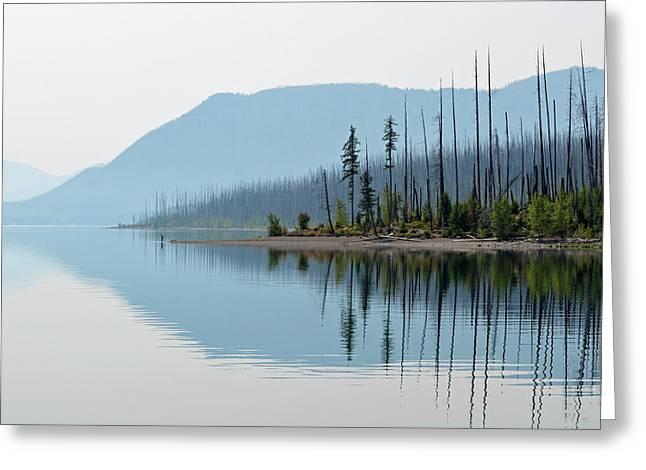 Lake Mcdonald Twin Reflections Greeting Card