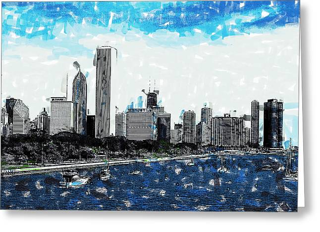 Lake Michigan And The Chicago Skyline Greeting Card
