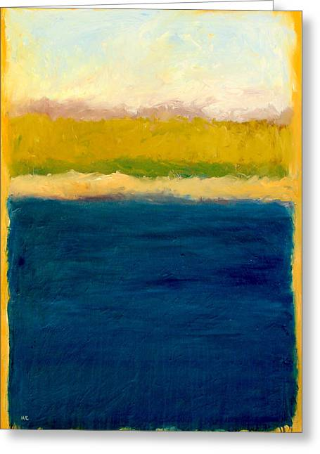 Lake Michigan Beach Abstracted Greeting Card by Michelle Calkins