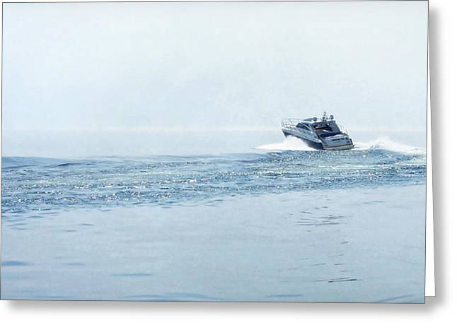 Greeting Card featuring the photograph Lake Michigan Boating by Lars Lentz