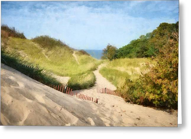 Greeting Card featuring the photograph lake Michigan Coastal Dune Path by Michelle Calkins