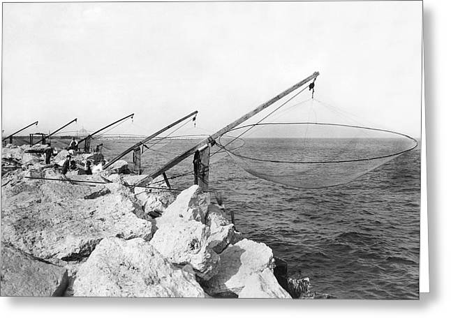 Lake Michigan Fishing Nets Greeting Card by Underwood Archives