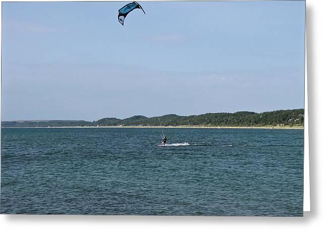 Lake Michigan Kite Boarding Greeting Card by Jane Greiner