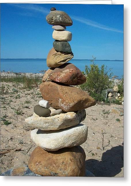 Lake Michigan Stone Pyramid Greeting Card by Johnny Yen