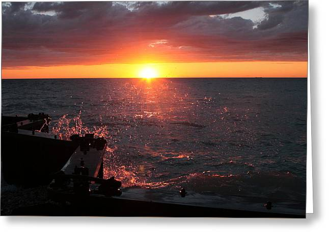 Greeting Card featuring the photograph Lake Michigan Sunset by Bruce Patrick Smith