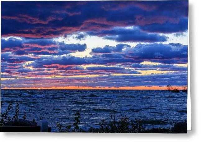 Lake Michigan Windy Sunrise Greeting Card