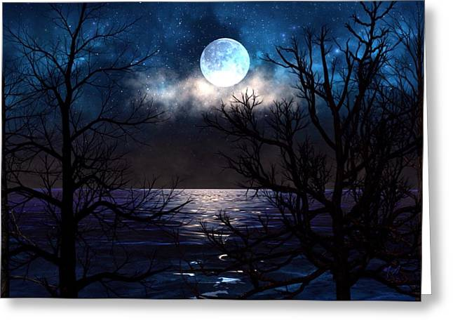 Greeting Card featuring the painting Lake Midnight by Mark Taylor