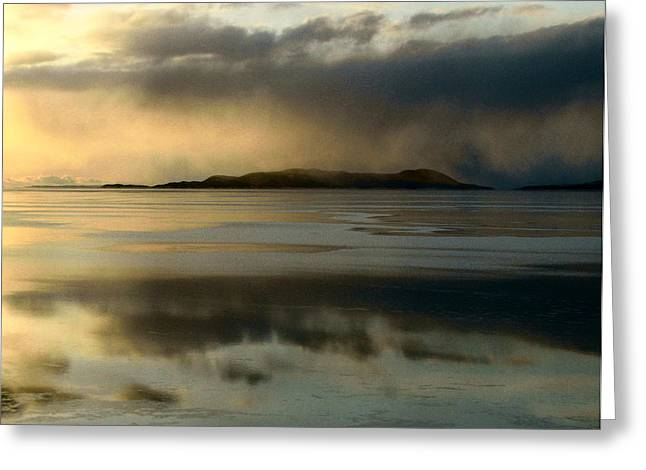 Lake Mist Over Pic Island Greeting Card by Laura Wergin Comeau