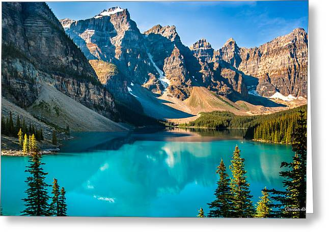 Greeting Card featuring the photograph Lake Moraine Valley Of Ten Peaks by Claudia Abbott