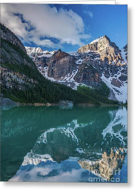 Lake Moraine Valley Of The Ten Peaks Reflection Greeting Card
