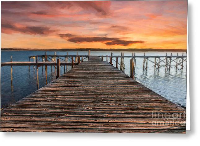 Lake Murray Lodge Pier At Sunrise Landscape Greeting Card
