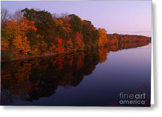 Lake Nockamixon Twilight Reflection In Autumn Greeting Card by Anna Lisa Yoder