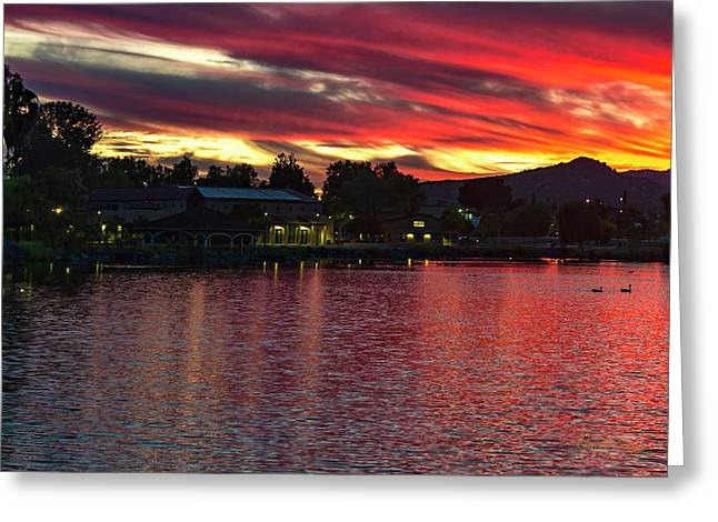 Greeting Card featuring the photograph Lake Of Fire by Dan McGeorge