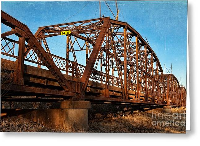 Lake Overholser Bridge Greeting Card by Lana Trussell