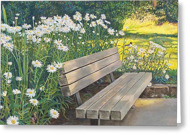 Lake Padden Series - Memorial Bench Of Judy Winter Greeting Card