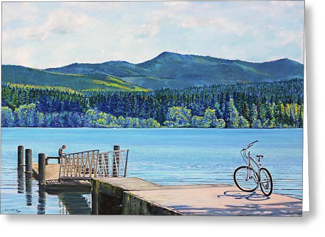 Lake Padden-view From The Memorial Bench Of Mildred Hottle And Jeffery Myers Greeting Card by Nick Payne