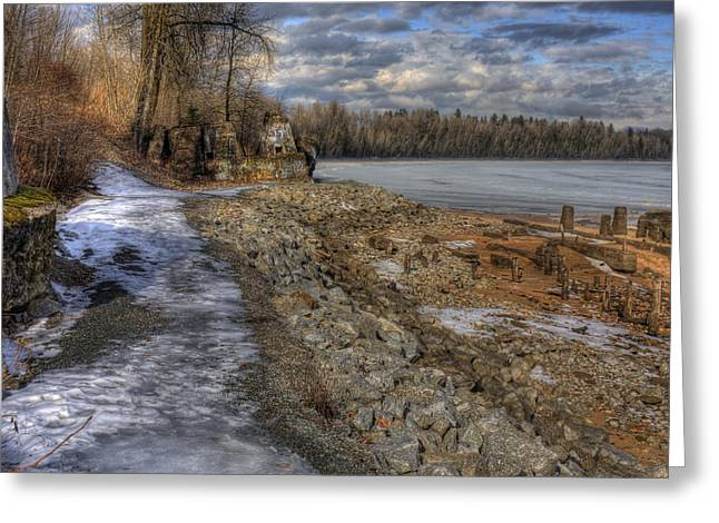 Lake Pend D'oreille At Humbird Ruins Greeting Card