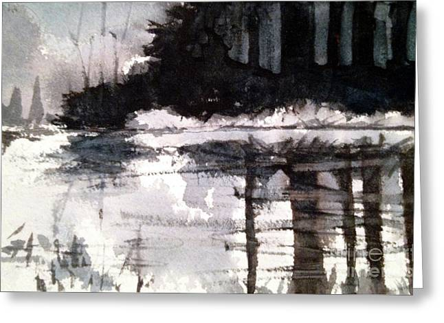 Lake Placid Black And White Study Greeting Card