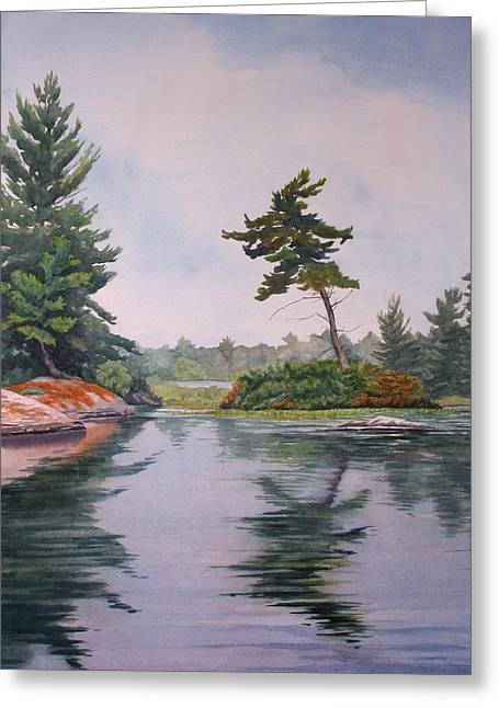 Lake Reflection Greeting Card by Debbie Homewood